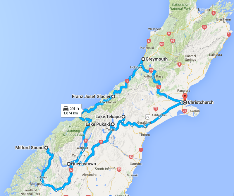 NZ Route map